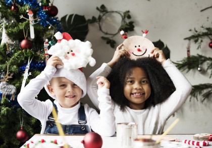 Happy kids with their DIY Christmas projects